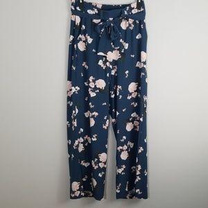 Torrid Floral Crepe Tie Front Wide Leg Pants 0 NWT
